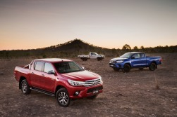 2015 Toyota HiLux: SR5 double cab (front), SR extra cab (right) and Workmate single cab-chassis